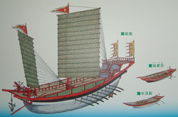 Drawing of Mongol ships and boats, Takashima museum