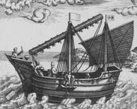 C16th Portuguese depiction of a South China Sea vessel